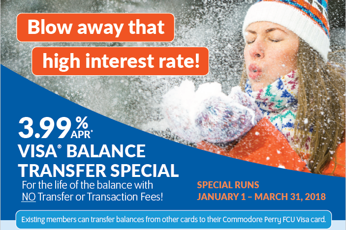 """Promotional Image - Woman in the snow - """"Blow away that high interest rate"""" - 3.88% APR* Visa Transfer Special - Special runs January 1st through March 31st, 2018."""