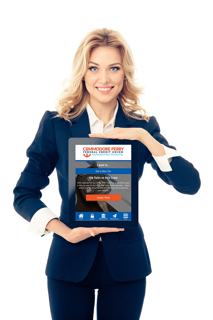 Woman holding tablet - Create a Business account