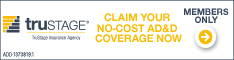 Logo - Trustage - Claim your no-cost AD&D coverage now. Members Only!