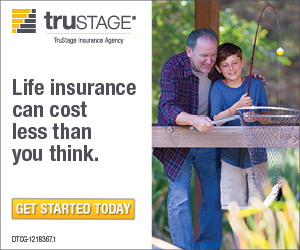 Promotional image - A man fishing with his son - Trustage - Life insurance can cost less than you think. Get started today